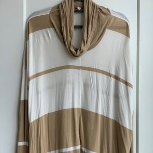 Striped mixed media cowl neck shirt